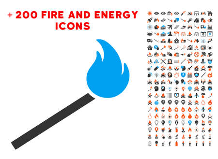 Match Fire icon with bonus energy design elements. Vector illustration style is flat iconic elements for web design, app ui. Illustration