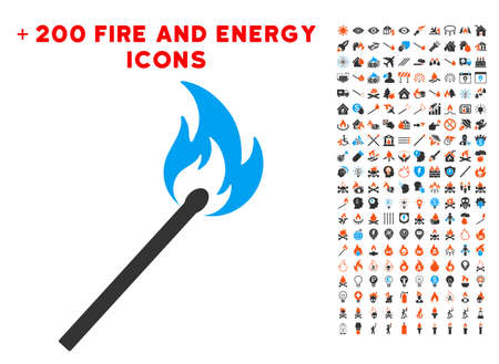 Match Fire icon with bonus flame symbols. Vector illustration style is flat iconic elements for web design, app user interface.