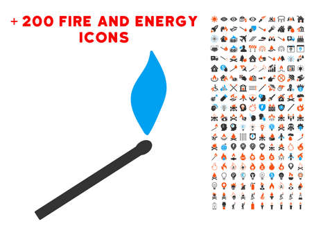 Match Fire icon with bonus power pictograms. Vector illustration style is flat iconic elements for web design, application ui.
