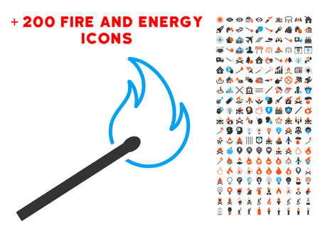 Match Flame icon with bonus energy symbols. Vector illustration style is flat iconic elements for web design, app ui. Illustration