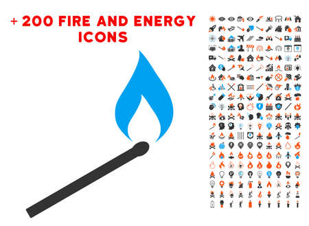 Match Ignition icon with bonus fire symbols. Vector illustration style is flat iconic symbols for web design, app ui.