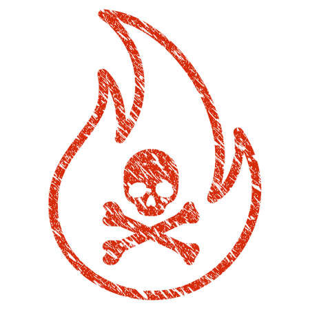 Grunge Toxic Fire rubber seal stamp watermark. Icon toxic fire symbol with grunge design and unclean texture. Unclean raster red emblem.