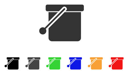 Bucket icon. Vector illustration style is a flat iconic bucket symbol with black, grey, green, blue, red, orange color versions. Designed for web and software interfaces.