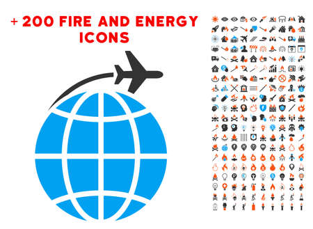 International Flight icon with bonus energy pictures. Vector illustration style is flat iconic symbols for web design, application ui.