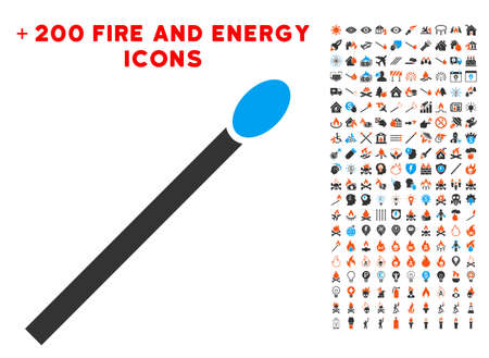 Match pictograph with bonus fire design elements. Vector illustration style is flat iconic elements for web design, app user interface. Illustration
