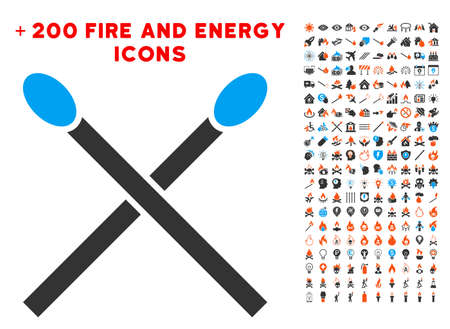 Matches pictograph with bonus flame symbols. Vector illustration style is flat iconic elements for web design, app user interface.