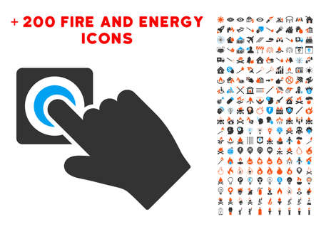 call log: Push Alarm Button icon with bonus energy icon set. Vector illustration style is flat iconic elements for web design, app user interface.