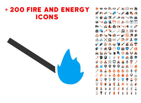 Match Flame icon with bonus energy pictures. Vector illustration style is flat iconic elements for web design, app user interface. Illustration