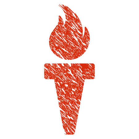 Grunge Torch Fire rubber seal stamp watermark. Icon torch fire symbol with grunge design and scratched texture. Unclean vector red sticker. Illustration