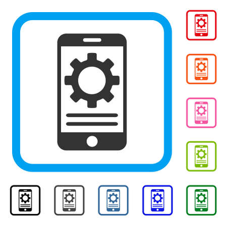 electronic components: Mobile Screen Options Gear icon. Flat grey pictogram symbol in a light blue rounded square. Black, gray, green, blue, red, orange color additional versions of Mobile Screen Options Gear vector.