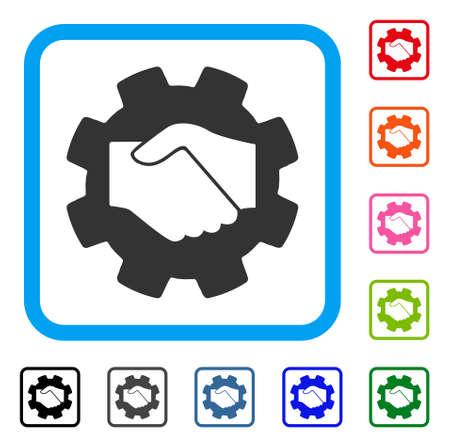 Icône de contrat Smart Handshake. Symbole iconique plat gris dans un cadre rectangulaire arrondi bleu clair. Noir, gris, vert, bleu, rouge, orange versions supplémentaires du vecteur Smart Contract Handshake.