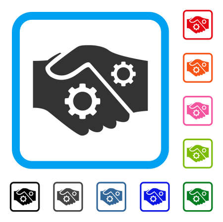 Icône de contrat Smart Handshake. Symbole de pictogramme plat gris dans un cadre rectangulaire arrondi bleu clair. Noir, gris, vert, bleu, rouge, orange versions supplémentaires du vecteur Smart Contract Handshake.