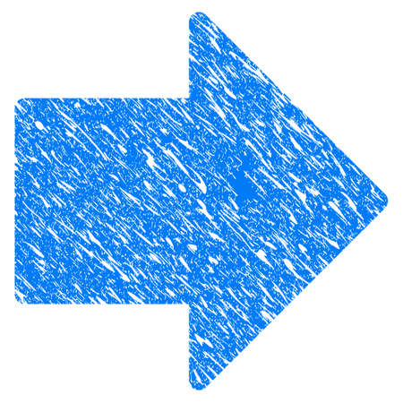 Grunge Arrow Right icon with grunge design and dust texture. Unclean vector blue arrow right pictogram for rubber seal stamp imitations and watermarks. Draft sign symbol.