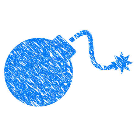 Grunge Bomb icon with grunge design and dirty texture. Unclean raster blue Bomb pictogram for rubber seal stamp imitations and watermarks. Draft sign symbol. Stock Photo