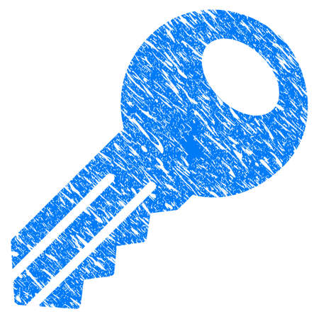 Grunge Key icon with grunge design and unclean texture. Unclean raster blue Key pictogram for rubber seal stamp imitations and watermarks. Draft sticker symbol. Stock Photo