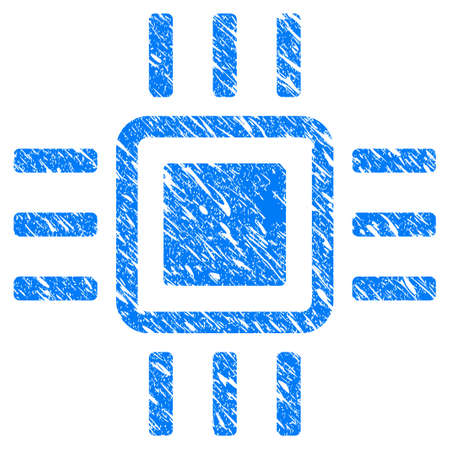 electronic components: Grunge Processor icon with grunge design and scratched texture. Unclean raster blue Processor pictogram for rubber seal stamp imitations and watermarks. Draft sticker symbol. Stock Photo