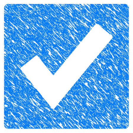 Grunge Valid icon with grunge design and dirty texture. Unclean vector blue Valid pictogram for rubber seal stamp imitations and watermarks. Draft sticker symbol.