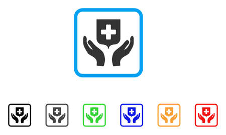 addition: Medical Shield Care Hands icon. Flat pictogram symbol in a rounded square. Black, gray, green, blue, red, orange color versions of Medical Shield Care Hands vector. Designed for web and software UI.