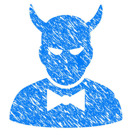 Grunge Devil icon with grunge design and dust texture. Unclean raster blue Devil pictogram for rubber seal stamp imitations and watermarks. Draft sign symbol.