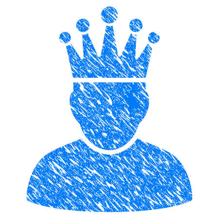 czar: Grunge King icon with grunge design and scratched texture. Unclean raster blue King pictogram for rubber seal stamp imitations and watermarks. Draft sticker symbol.