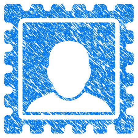 그런 지 디자인 및 부정한 질감 그런 지 우편 표시 아이콘. 고무 도장 스탬프 모조품 및 워터 마크에 대한 부정한 래스터 파란색 우편 표시 아이콘. 초