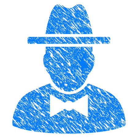 Grunge Spy icon with grunge design and unclean texture. Unclean raster blue Spy pictogram for rubber seal stamp imitations and watermarks. Draft emblem symbol.