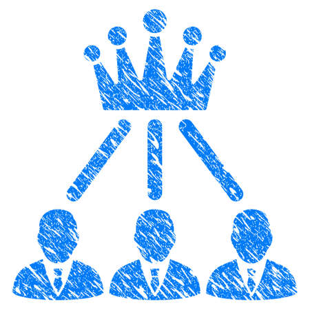 Grunge Administration Crown icon with grunge design and dirty texture. Unclean vector blue Administration Crown pictogram for rubber seal stamp imitations and watermarks. Draft sign symbol.