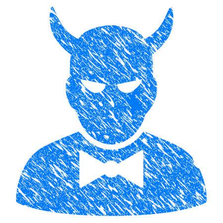 Grunge duivel pictogram met grunge ontwerp en vuile textuur. Unclean vector blue Devil pictogram voor rubberen afdichting stempel imitaties en watermerken. Conceptsticker symbool. Stockfoto - 86960643