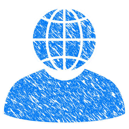 Grunge Global Politician icon with grunge design and unclean texture. Unclean vector blue Global Politician pictogram for rubber seal stamp imitations and watermarks. Draft emblem symbol.