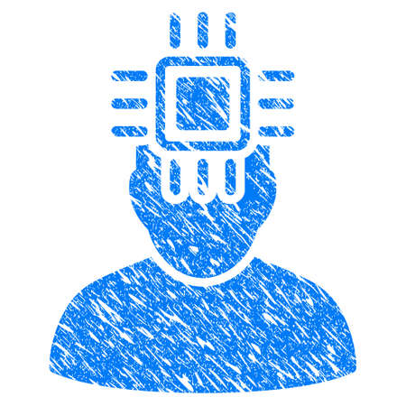 electronic components: Grunge Neuro Interface icon with grunge design and unclean texture. Unclean vector blue Neuro Interface pictogram for rubber seal stamp imitations and watermarks. Draft sign symbol. Illustration