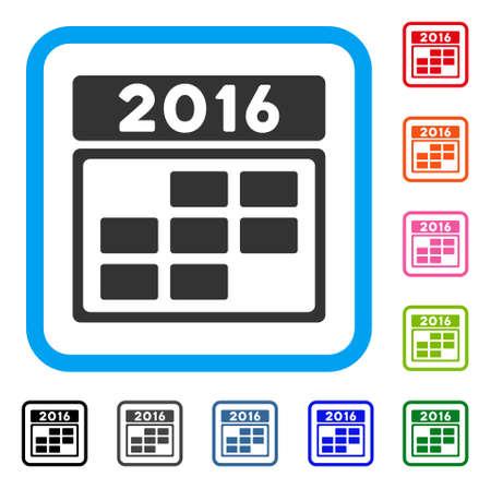 2016 calendar grid icon.