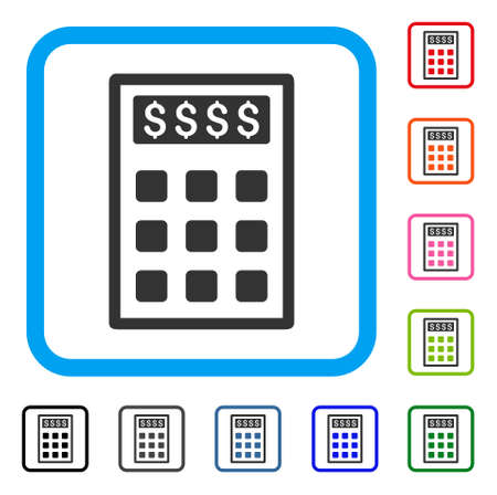 Book-Keeping Calculator icon. Flat grey pictogram symbol inside a light blue rounded rectangle. Black, gray, green, blue, red, orange color variants of Book-Keeping Calculator vector.
