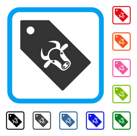 Bull Tag icon. Flat gray iconic symbol inside a light blue rounded rectangle. Black, gray, green, blue, red, orange color additional versions of Bull Tag vector.