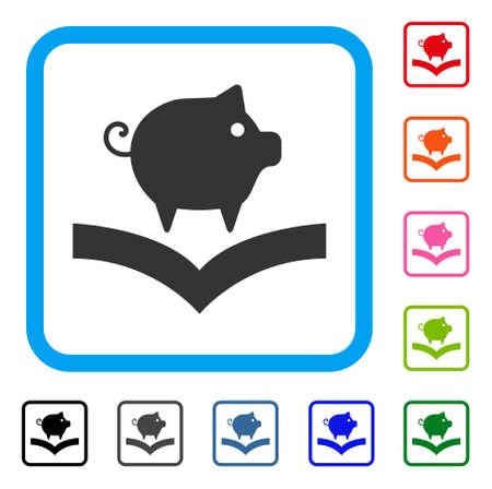 豚知識アイコン。水色の丸い枠の中フラット グレー ピクトグラム シンボル。