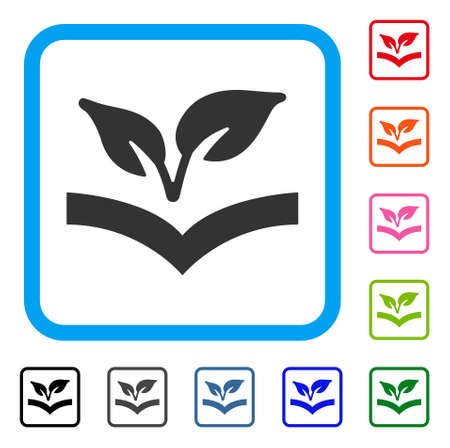 Flora Knowledge icon. Flat grey pictogram symbol in a light blue rounded frame. Illustration