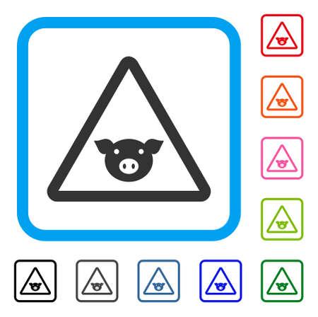 豚警告アイコン。水色の中フラット グレーの象徴的なシンボルが正方形に丸められます。