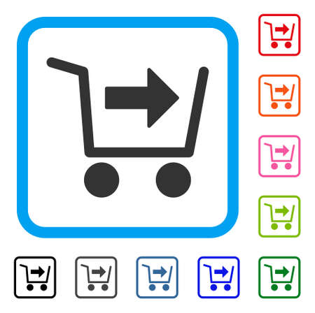 Purchase cart icon. Flat gray iconic symbol inside a light blue rounded squared frame. Ilustrace