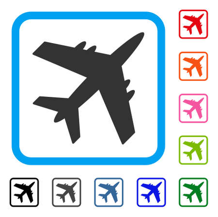 Aircraft icon. Flat grey pictogram symbol inside a light blue rounded square. Illustration