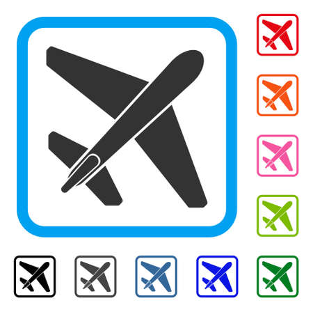 usaf: Jet Airplane icon. Flat grey pictogram symbol inside a light blue rounded frame. Black, gray, green, blue, red, orange color additional versions of Jet Airplane vector.