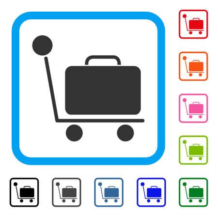 Gepäckwagen-Symbol. Flaches graues Piktogrammsymbol innerhalb eines hellblauen gerundeten Rahmens. Schwarze, graue, grüne, blaue, rote, orange Farbvarianten des Gepäcklaufkatzenvektors. Standard-Bild - 88070215