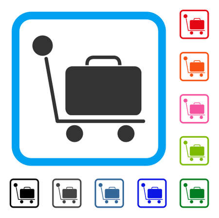 Luggage Trolley icon. Flat grey pictogram symbol inside a light blue rounded frame. Black, gray, green, blue, red, orange color variants of Luggage Trolley vector. Иллюстрация