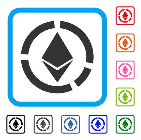 Ethereum サークル図アイコン。水色のフラット グレー ピクトグラム シンボルは、長方形のフレームを丸められます。Ethereum サークル図ベクトルの黒  イラスト・ベクター素材