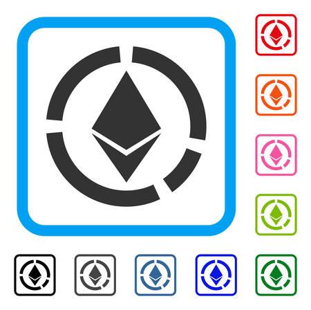 Ethereum サークル図アイコン。水色のフラット グレー ピクトグラム シンボルは、長方形のフレームを丸められます。Ethereum サークル図ベクトルの黒、グレー、緑、青、赤、オレンジ色のバージョン。