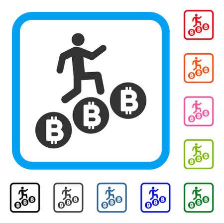 Person Climb Bitcoins icon.