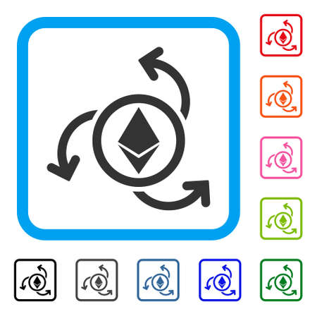 Ethereum Source Swirl icon. Flat grey iconic symbol inside a light blue rounded frame. Black, gray, green, blue, red, orange color variants of Ethereum Source Swirl vector. Illustration