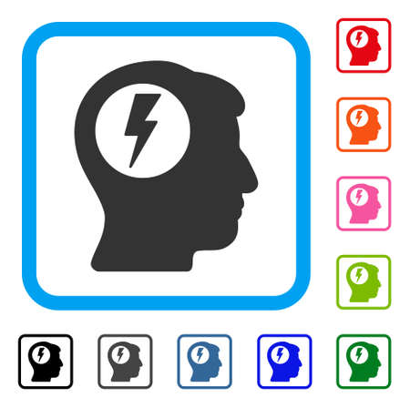 ruch: Brain Electric Shock icon. Flat gray iconic symbol inside a light blue rounded rectangular frame. Black, gray, green, blue, red, orange color additional versions of Brain Electric Shock vector.