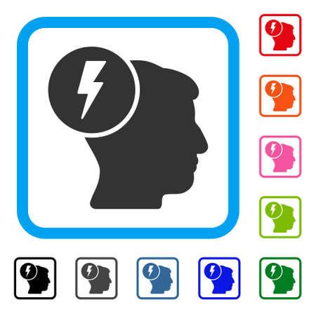 ruch: Brain Electricity icon. Flat gray iconic symbol in a light blue rounded square. Black, gray, green, blue, red, orange color additional versions of Brain Electricity vector.
