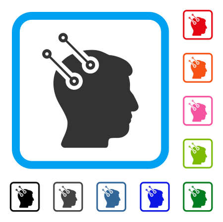 Neural Interface Connectors icon. Flat grey pictogram symbol in a light blue rounded squared frame. Black, gray, green, blue, red, orange color variants of Neural Interface Connectors vector.