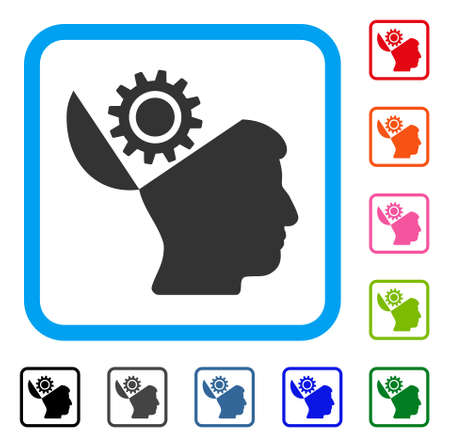 Open Head Gear icon. Flat gray iconic symbol inside a light blue rounded rectangular frame. Black, gray, green, blue, red, orange color variants of Open Head Gear vector. Illustration