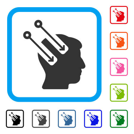 Neural Interface icon. Flat gray iconic symbol inside a light blue rounded frame. Black, gray, green, blue, red, orange color additional versions of Neural Interface vector.